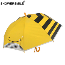 SHOWERSMILE Umbrella Kids Yelow Bees Children Transparent Automatic Long Handle Sun Rain Brand Child Parasol