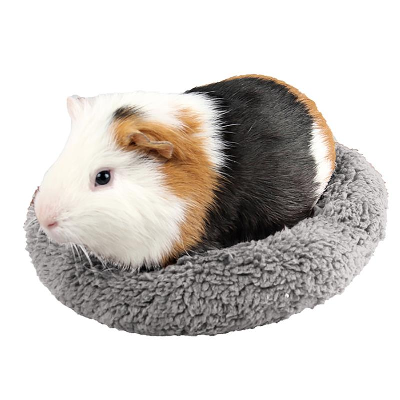 Solid Color Hamster Bed Nest Round Shape Plush Soft Warm Guinea Pig Bed Small Animal Sleep Mat Pet Supplies
