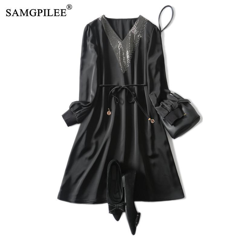 High End 2021 yeni asetik asit kumaş v yaka sıcak sondaj kemer ince moda giyim siyah kadın elbiseleri İlkbahar ve sonbahar 4XL
