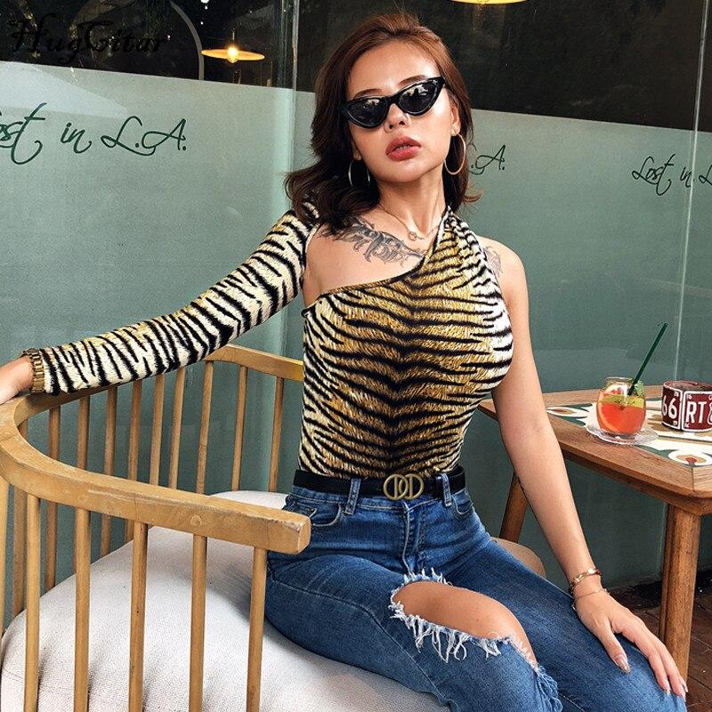 Hugcitar 2019 Tiger Print One-shoulder Halter Sexy Bodysuit Autumn Winter Women Streetwear Club Outfits Bodycon Body