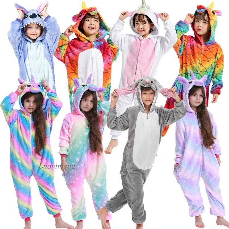 Kigurumi Onesie For Kids Animal Cartoon Sleepwear Boys Girls Unicorn Blanket Sleepers Children Cosplay Pijama Suit Boys Overalls