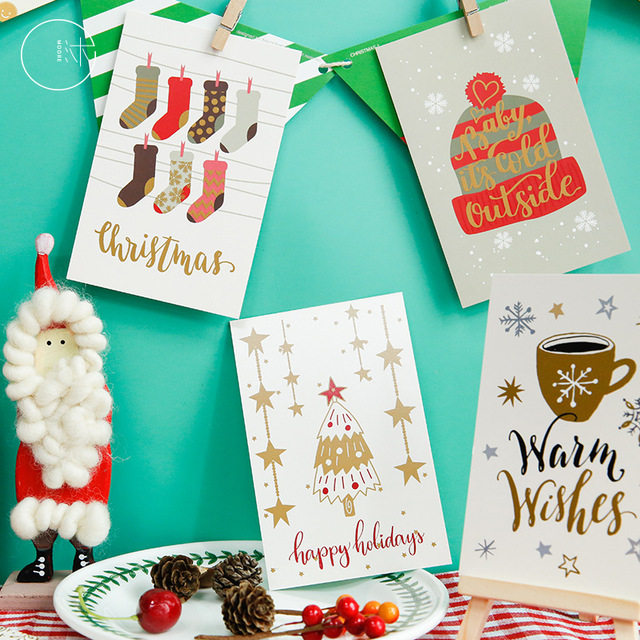 60pcs Christmas Postcards Set Gift Cards Postales Cute Santa Snowman Post Card Holidays Decorative DIY Wholesale