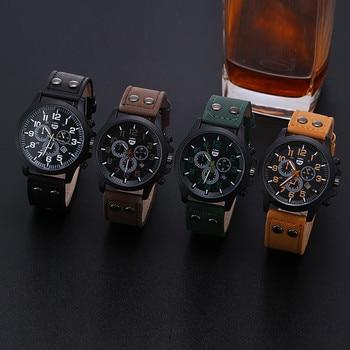 цена на Waterproof military leather date analog quartz army men's quartz watch men's wrist party accessories clothing dress watch gift
