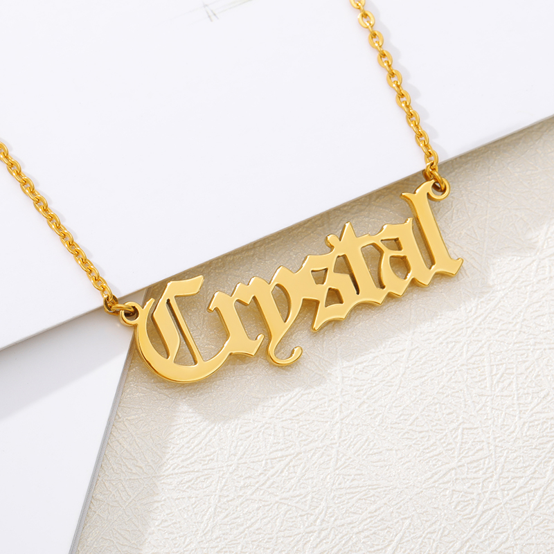 Fashion Custom Name Pendant Necklace Stylish Cursive Arabic Crown Heart Nameplate Necklace Stainless Steel Birthday Gift