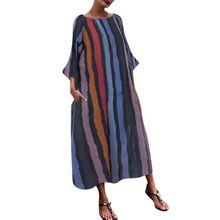 Women Retro Dress Half Sleeve O Neck  Casual Sundress Slim Striped Print Long Dresses EY