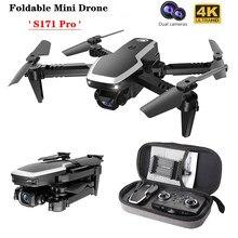 S171 pro fpv mini drones 4k hd câmera dupla altitude hold coreless motor wifi 2.4g rc quadcopter dobrável zangão câmeras
