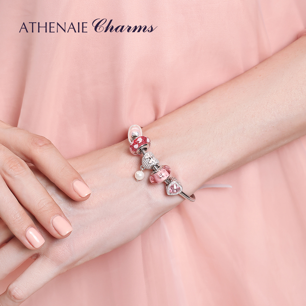 Image 5 - ATHENAIE 925 Sterling Silver Radiant Hearts Charms Beads Pave Opalescent Pink Crystal & Clear CZ Fit Bracelets Women Christmas-in Beads from Jewelry & Accessories
