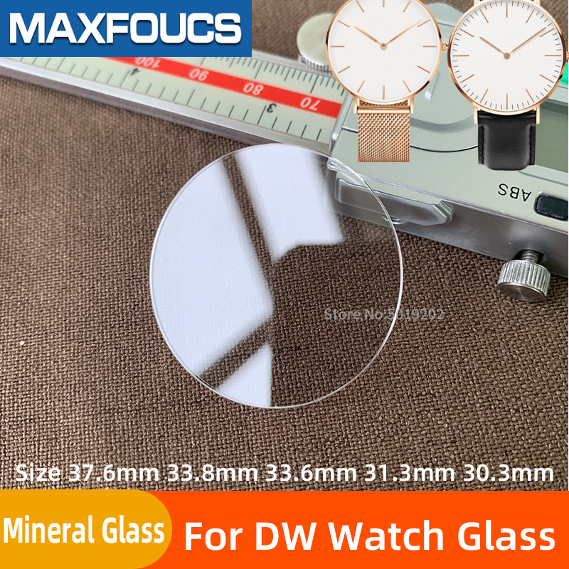 Parts For DW Watch Glass 37.6mm 33.8mm 33.6mm 31.3mm 30.3mm Mineral Glass Crystal For Daniel Replacement  Watch  Accessories
