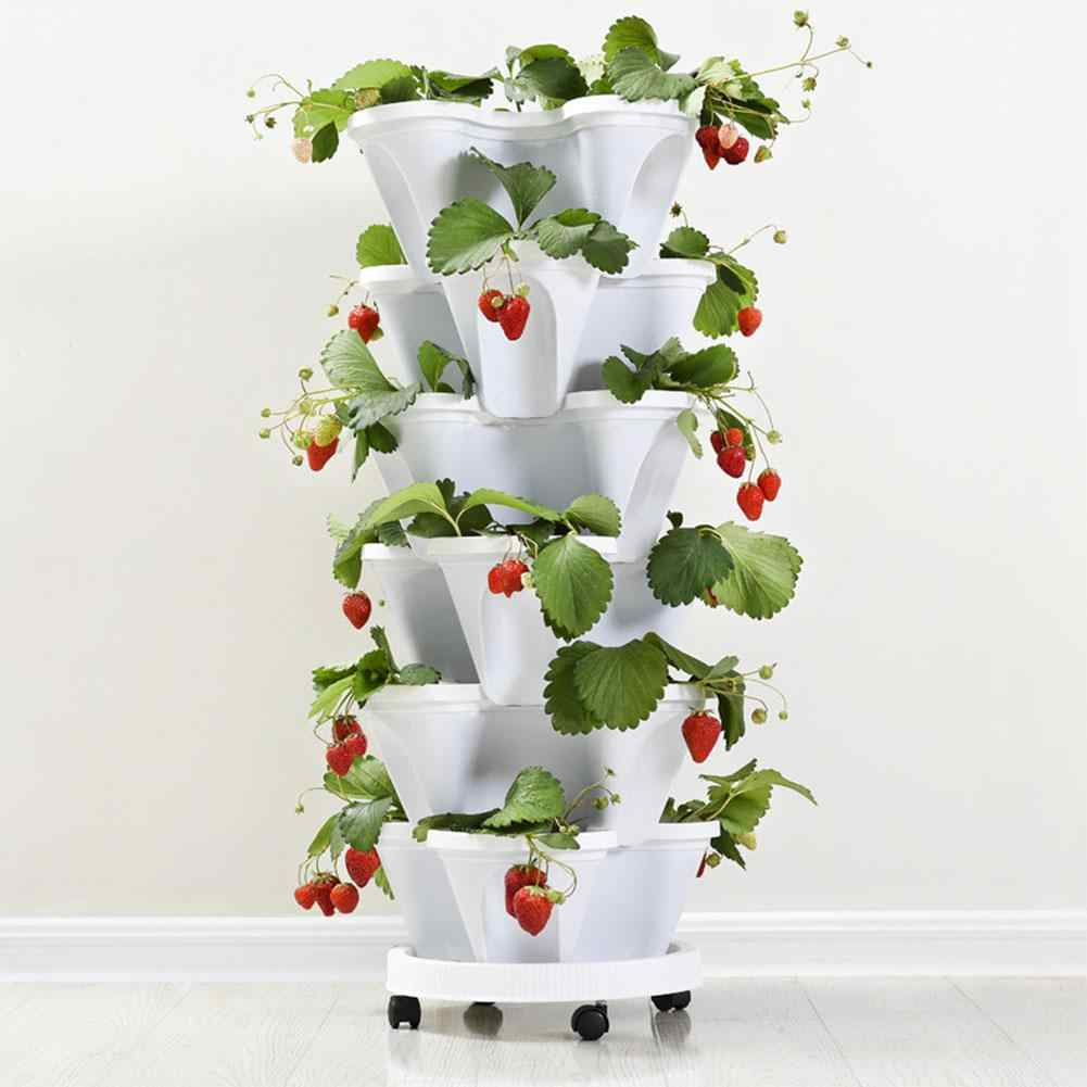 Yfashion Stack-up Tipo Stereoscopico Vaso di Fiori Pianta di Fragola Vaso per Fiori Verdure Decorazione