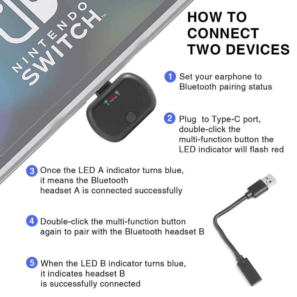 Mini USB Tipe C Bluetooth 5.0 Audio Adapter dengan MIC Apt X Rendah Latensi Nirkabel Transmitter Dongle untuk Nintendo Switch PS4 TV PC
