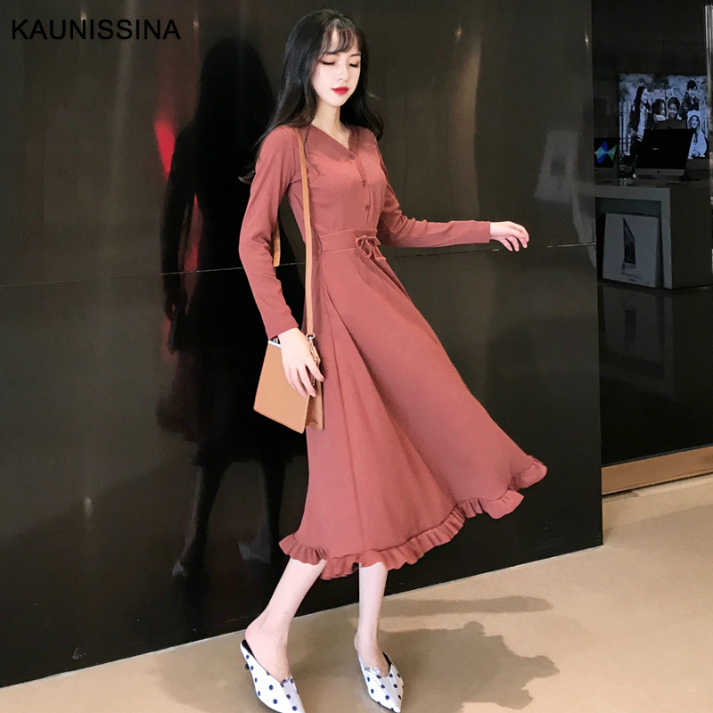 KAUNISSINA Autumn Cocktail Dress Long Sleeve V-Neck Calf Length Knit Party Gown Ladies Spring Homecoming Dresses