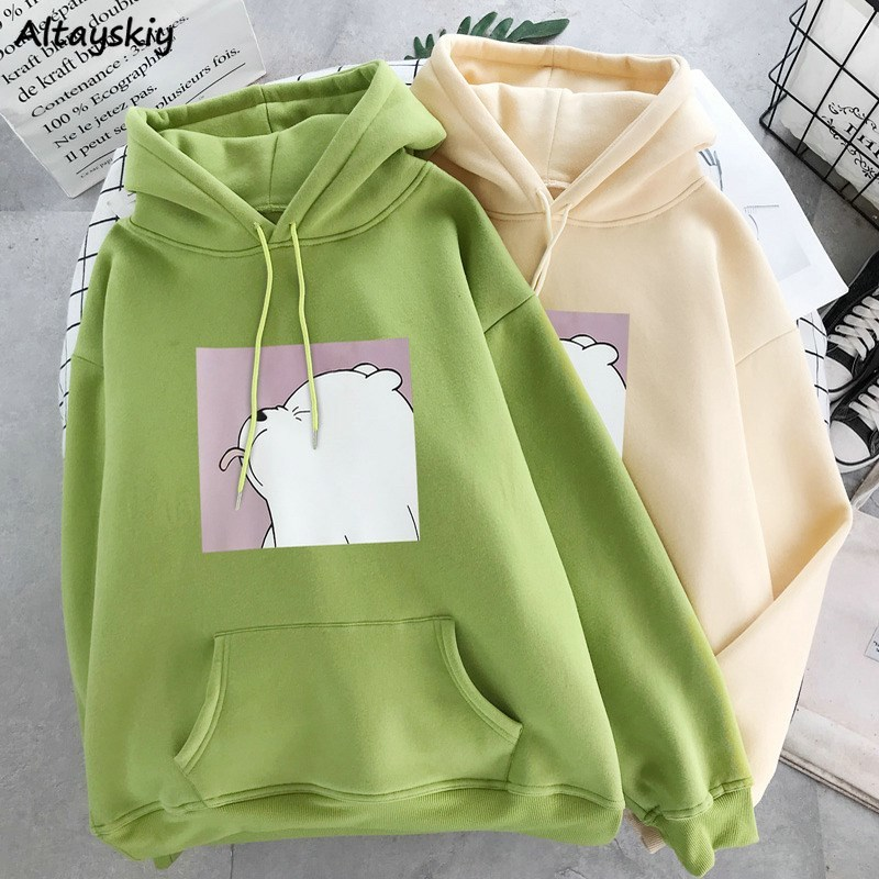 Hoodies Women Daily Print Lovely Ulzzang Womens Students Simple Casual Hooded Drawstrings With Pockets Outwear Fashionable Loose