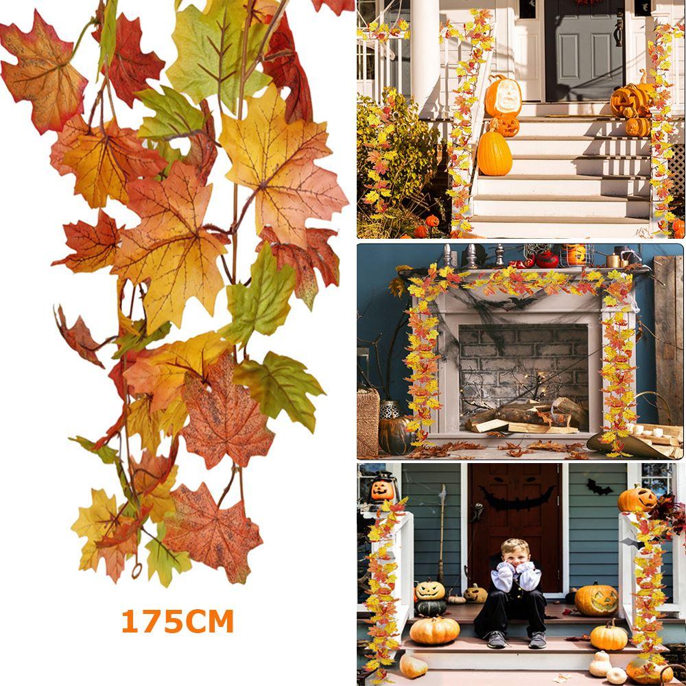 1,75 м искусственные кленовые листья, лоза, декоративные осенние листья, гирлянда, искусственные листва, гирлянда для искусственного украшен...