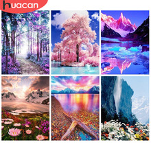HUACAN Diamond Painting Landscape Embroidery Full Round Diy Kit Drill Needlework Rhinestone Mosaic Picture