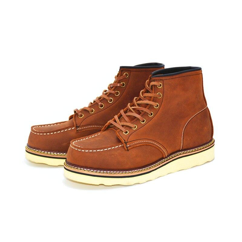 Goodyear/Винтажные ботильоны в байкерском стиле из натуральной кожи; мужская повседневная обувь с квадратным верхом и крыльями; рабочие красны... - 5