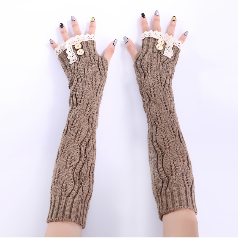 Sparsil Women Knitted Long Gloves Lace Edge Button Twist Half Finger Mittens Hollow Fingerless Winter Arm Elbow Wrist Protector