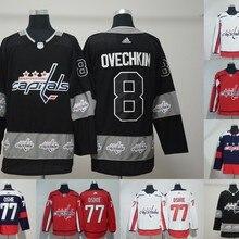 Топ A+++ Сшитый,, мужские футболки для взрослых, 8, Alex Ovechkin 77 TJ Oshie Jersey