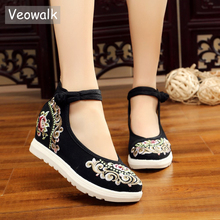 Veowalk zapatos de tela vaquera informales para mujer, calzado de lona con bordado Floral de alta gama, plataformas planas, Correa media en el tobillo, estilo chino