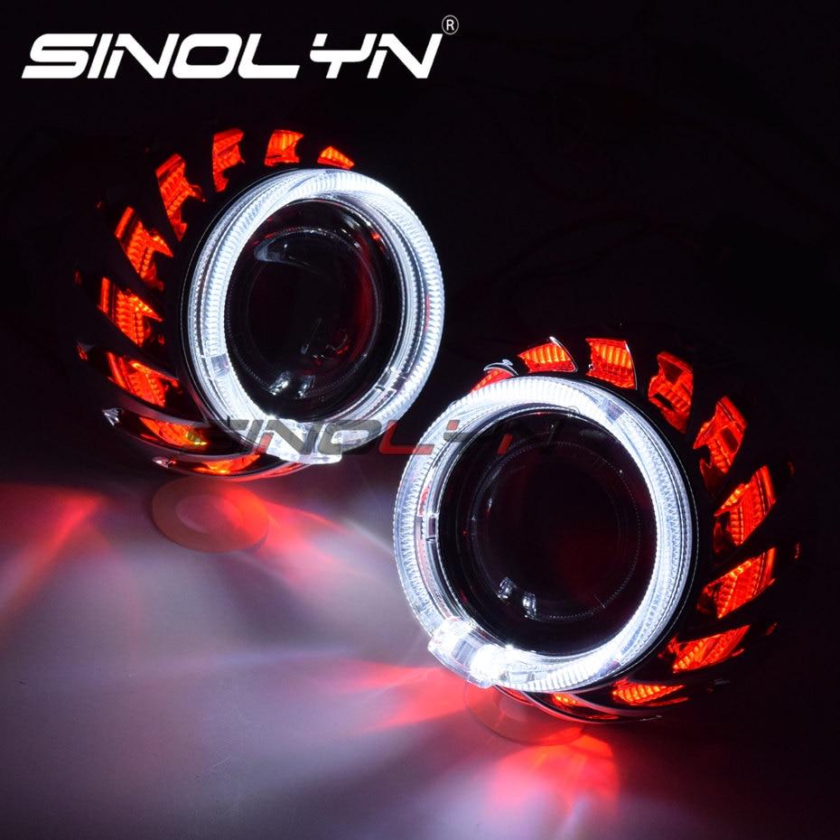 Sinolyn phares lentilles H4 H7 Bixenon lentille 2.5 projecteur ange yeux spirale Hotwheel LED double Halo voiture lumières accessoires Tuning