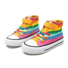 Baskets de marque pour enfants, chaussures d'automne en toile pour filles, qui respirent, à rayures arc-en-ciel, à la mode, pour écoliers, nouvelle collection 2021