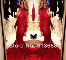 free shipping robe de soiree 2016 new hot&sexy vestidos festa highneck red long sleeve party gown lace mermaid evenng dress