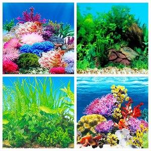 Image 2 - Pôster de fundo de aquário, fundo dupla face de pvc para decoração de parede de tanque de peixes 30/40/50cm (altura)