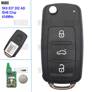 WALKLEE Remote Key for VW/VOLKSWAGEN 5K0837202AD Beetle/Caddy/Eos/Golf/Jetta/Polo/Scirocco/Tiguan/Touran/UP 5K0 837 202 AD 202AD