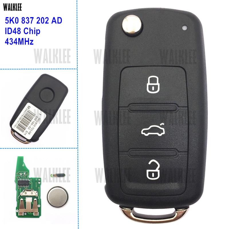 WALKLEE-clé télécommande pour VW/VOLKSWAGEN Beetle/Caddy, Eos, Golf, Jetta, Polo, cirocco, Tiguan, Touran, 5K0 837 202 AD, 202 AD