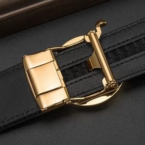 Image 4 - بيسون الدينيم جلد أصلي للرجال حزام التلقائي سبيكة الماس مشبك حزام من الجلد الفاخرة للذكور جودة عالية N71507