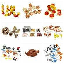 Clássico comida montar moc batatas fritas pizza pão peixes modelos blocos de construção diy brinquedos para crianças clássico tijolo presente aniversário