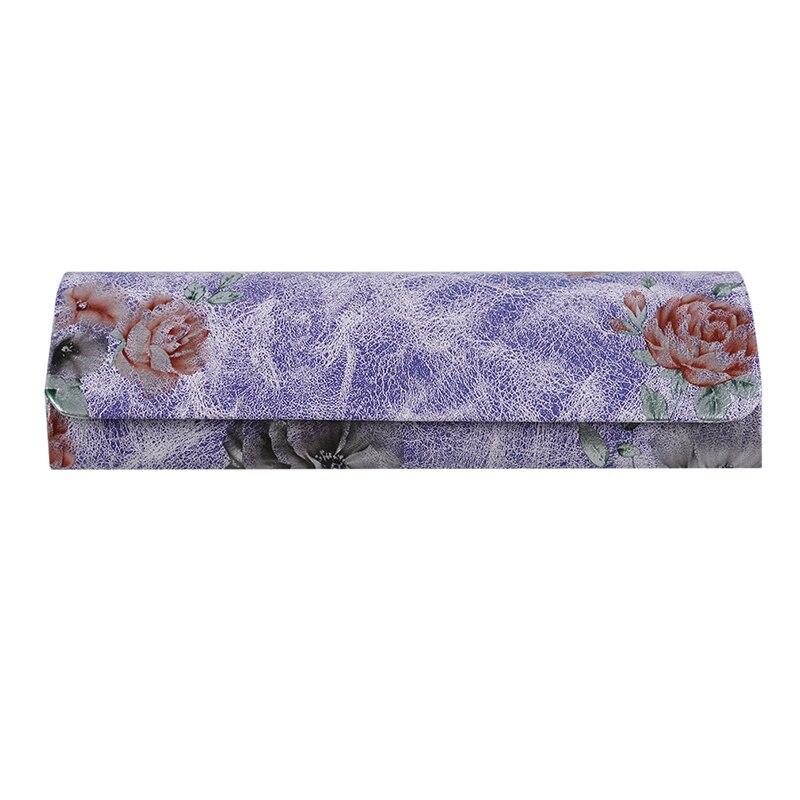 1 шт., коробка для очков из искусственной кожи, винтажный складной чехол с цветочным принтом, переносная элегантная коробка для хранения очков для чтения - Цвет: purple
