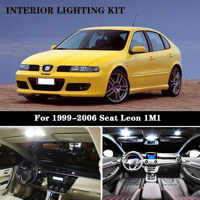 15pc X LED License Plate Lamp + Interior Dome Map Light Kit For Seat Accessories For Leon 1M 1 (1999-2006)