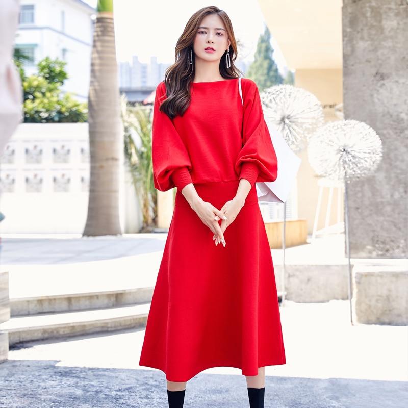 Korean Elegant Autumn Winter Women Knitted 2 Piece Set Long Sleeve Loose Pullover Sweater + High Waist Midi A-Line Skirts Suits