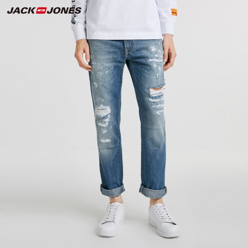 JackJones Autumn Men's Cool Wornout Style Casual Jeans 218332584