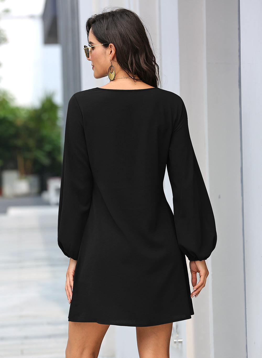 Black Lantern Sleeve Round Neck Casual Dress 22