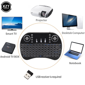 i8 3 Color Backlit 2.4G Wireless Keyboard Air Mouse English Touchpad Handheld for Smart TV BOX Notebook PC USB Receiver