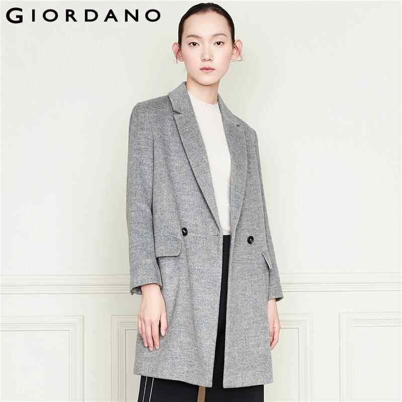 Giordano Vrouwen Jas Pak Kraag Mid-lange Wollen Winter Jas Vrouwen Double Breasted Front Warm Casual Manteau Femme 05379689