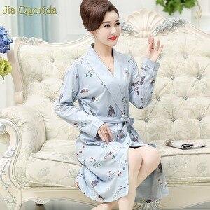 Image 2 - Kimono New Arrival Robe For Female Autumn Nightgown Cotton Bathrobe Women Pajamas Long Sleeve Pyjamas For Ladies Plus Size Robes