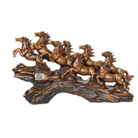 Chinese Eight Horses Abstract Sculpture Fengshui Statue Resin Wooden Crafts Success Gifts Home Decor Living Room Business Gift