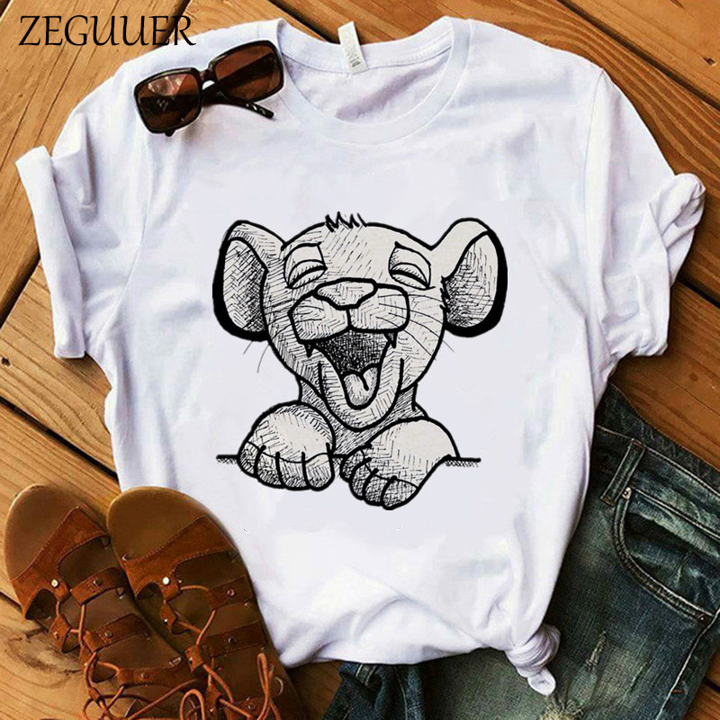 The Lion King Cartoon Print T <font><b>Shirt</b></font> Two Little Lions Vogue Casual Short Sleeve <font><b>Women</b></font> Printed O Neck T <font><b>Shirt</b></font> Hakuna Matata Tees image