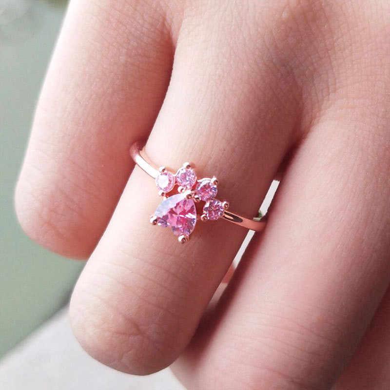 2019 ใหม่สีชมพูคริสตัลแหวนหมั้นคริสตัลแหวน Rose Gold แหวนเครื่องประดับแหวนแหวนหญิง Cat Claw เปิด R