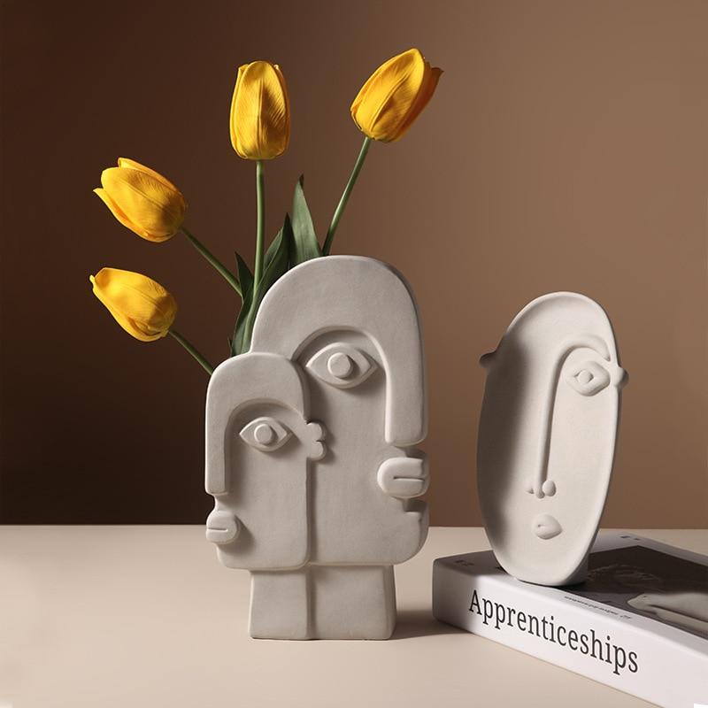 Nordic ins Home Decor Ceramic Vase for Flowers Human Face Design Decoration Home Vase luxury Pot For Dried Flower  white vase