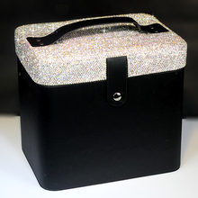 Fine Shiny Diamonds Cosmetic Bag Large Capacity Double Layer Multifunction Portable With Mirrored Handle Jewelry Storage Box