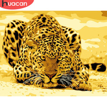 HUACAN Oil Painting By Numbers Animals Kits Leopard Pictures Drawing Canvas HandPainted DIY Home Decoration Gift