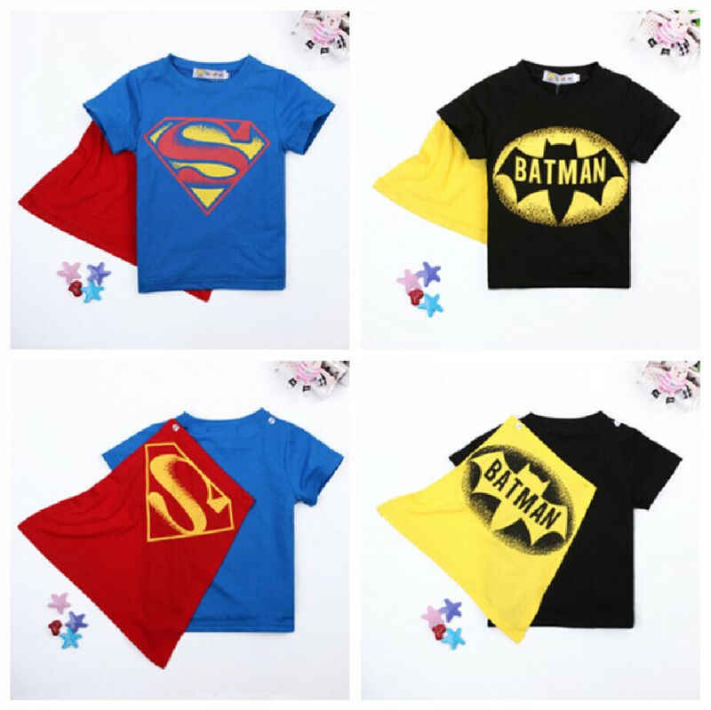 2020 kinder Jungen T-shirt Tops mit Cape Superman Batman Kinder sommer Kurzarm t-shirt T tops Baby Jungen Kleidung custume