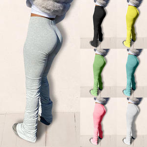 Stacked Pants Leggings Women Trousers Bell-Bottom Flare Ruched Elastic High-Waist Draped