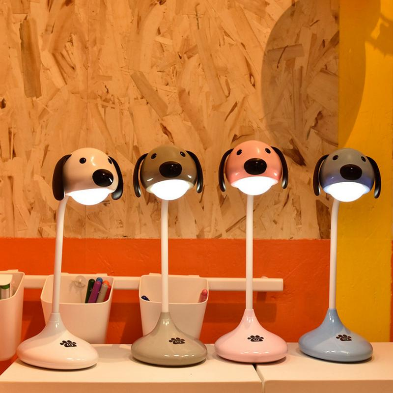 NEWKBO Hot Selling Cute Dog On The Side Touch The Double Tone Lamp Student's Light Household Cute Dog Lamp Eye's Protection Lamp