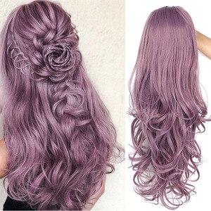 Image 2 - Длинные волнистые синтетические кружевные передние парики Is a wig, фиолетовый кружевной парик для черных/белых женщин, черный, розовый, коричневый цвет