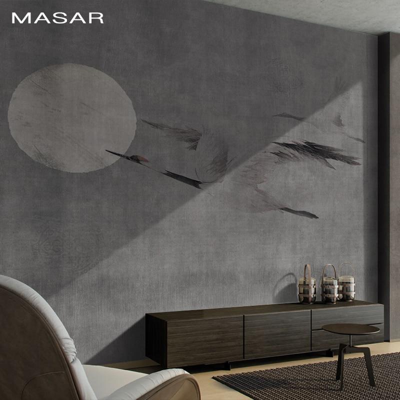 MASAR Flying Crane Sun Chinese Element Creative Wallpaper Custom Mural Home Decoration Background Wallpaper Chasing The Sun