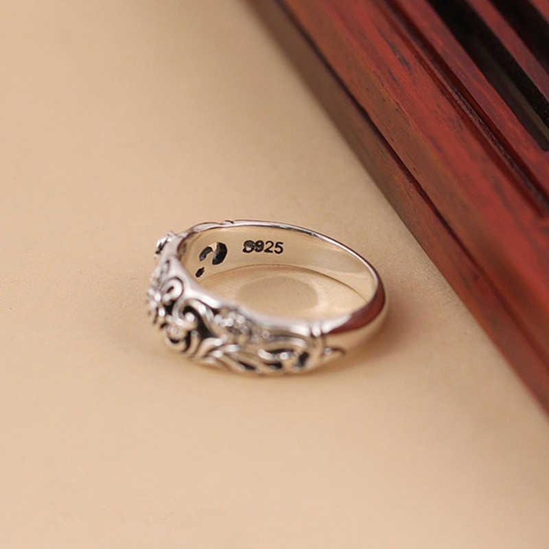 العتيقة خاتم فضة للنساء روز زهرة منحوتة مجوهرات الأزياء الإناث خواتم خمر الزفاف الخطوبة فتاة هدية DBR002